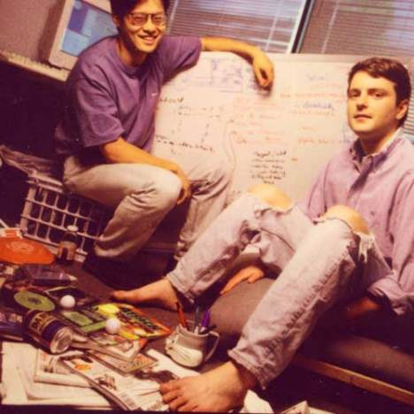 Os pioneiros do Y!: Jerry Yang (esquerda) e David Filo